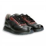 Black red and grey calf sneaker rubber sole