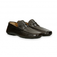 Dark brown deer skin Carshoe Loafer