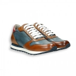 Blue and light brown calf  Sneaker rubber sole