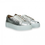 Silver laminated leather sneaker rubber sole