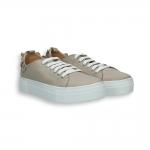 Sand Napa calf flower sneaker rubber sole