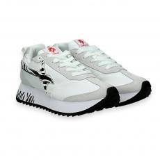Sneaker Kiss white nylon and zebra star