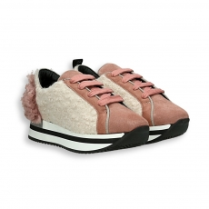 White and pink wool fabric sneaker running sole