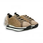 Camel and white wool fabric sneaker running sole