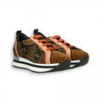 Brown and orange suede with python running sneaker