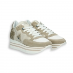 Sneaker in sand Suede and lurex triple rubber sole