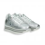 Silver laminated calf Sneaker triple rubber sole