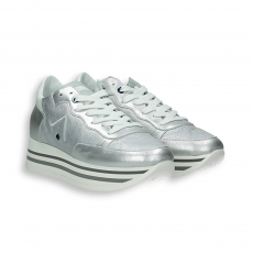 Silver laminated calf Sneaker triple rubber sole