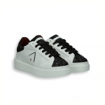 White calf sneaker and black glitter on toe rubber sole