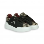 Black calf  sneaker and zebra details rubber sole