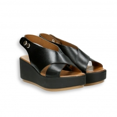 Black calf crossover platform sandal heel 60 mm.