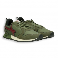 Running green suede  nylon with bordeaux  detail rubber sole
