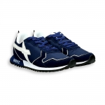 Sneaker in suede and blu nylon white detail running sole