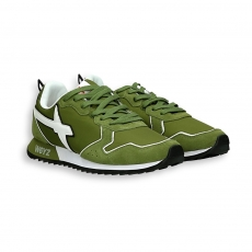 Sneaker in suede and green nylon white detail running sole