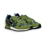 Sneaker in green suede and nylon camouflage running sole