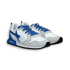 Sneaker in suede and white nylon blue detail running sole
