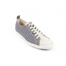 Blue Checkered fabric white suede