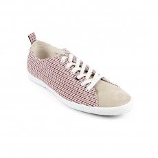 Red Checkered fabric sand suede