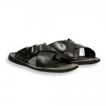 Dark Brown crossed belt with buckle slip-on man rubber sole