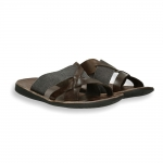 Dark Brown calf and canvas crossed belt slip-on man rubber sole