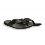 Dark brown vintage calf flip-flop rubber sole