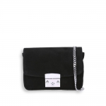 Pocket bag with silver shoulder chain in black suede size 20x7h15 cm.