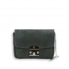 Pocket bag with silver shoulder chain in grey suede size 20x7h15 cm.