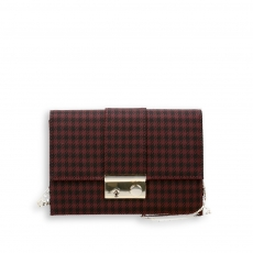 Pocket bag with shoulder chain pie-de-poule fabric bordeaux and black size 22x7h15 cm.