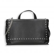 Black calf with stud detail large bag detach. shoulder belt and chain Size 37x8h35 cm.