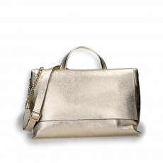 Gold laminated calf big flap bag w/sholder belt size 39x16h24 cm.
