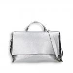 Silver laminated calf big flap bag w/sholder belt size 39x16h24 cm.