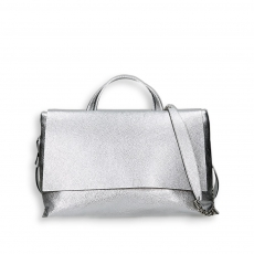 Silver laminated calf big flap bag w/sholder belt size 39x16h24 cm.