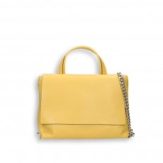 Yellow elk calf small flap Bag with shoulder belt size 27x10h19 cm.