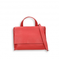 Red elk calf small flap Bag with shoulder belt size 27x10h19 cm.