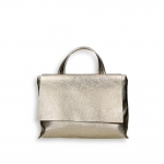 Gold laminated calf small flap Bag with shoulder belt size 27x10h19 cm.