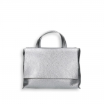 Silver laminated calf small flap Bag with shoulder belt size 27x10h19 cm.