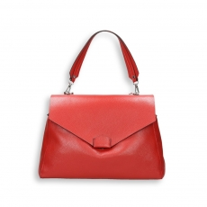 Red elk calf handbag w/detach. shoulder belt size 35x15h27 cm.