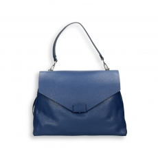 Blue elk calf handbag w/detach. shoulder belt size 35x15h27 cm.
