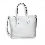 White calf vertical shopping bag with weaved shoulder belt size 35x15h32cm.