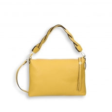 Ocre calf zipped Baguette with crossed shoulder belt size 29x4h19 cm.
