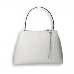 White elk calf double zip handbag size 35x13h25 cm