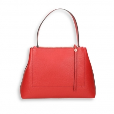 Red elk calf double zip handbag size 35x13h25 cm