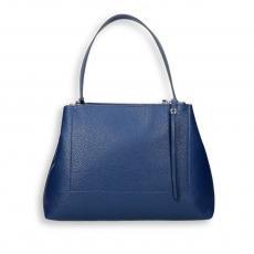 Blue elk calf double zip handbag size 35x13h25 cm