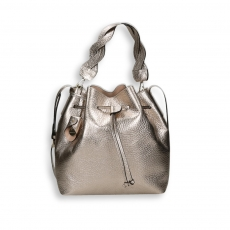 Gold laminated calf bucket bag size 26x15h29 cm.