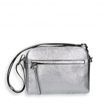 Silver laminated calf double zipped shoulder belt brick bag size 23x9h18 cm.