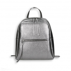 Gunmetal laminated calf big zipped backpack size 28x12h34 cm.