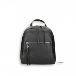 Black calf small zipped backpack size 24x12h30 cm.
