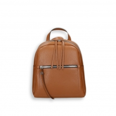 Brown calf small zipped backpack size 24x12h30 cm.