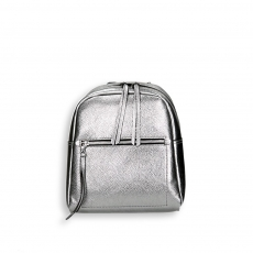Gunmetal laminated calf small zipped backpack size 24x12h30 cm.