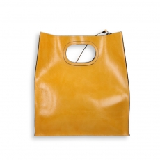 Shopping bag handhold raw-cut ochre calf with shoulder belt size 35x14h39 cm.